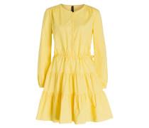 Kleid mit Volant - gelb