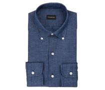 Hemd Regular-Fit mit Leinenanteil - blau