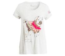 T-Shirt mit Paillettenbesatz