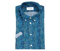 Halbarm-Hemd Slim-Fit - blau/ schwarz