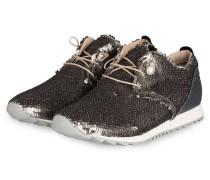 Sneaker mit Paillettenbesatz - silber