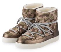 Fell-Boots - beige/ grün/ braun