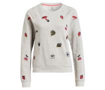 Sweatshirt mit Stickereien - grau