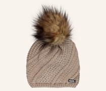 Mütze SITA LUX mit Kunstpelzbommel und