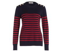 Pullover - navy/ rot gestreift