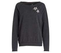 Sweatshirt mit Patches - anthrazit meliert