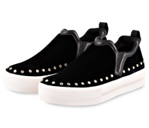 Slip-on-Sneaker aus Samt - nachtblau