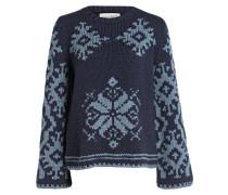 Cashmere-Pullover - blaugrau/ petrol