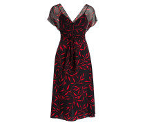 Seidenkleid - schwarz / rot