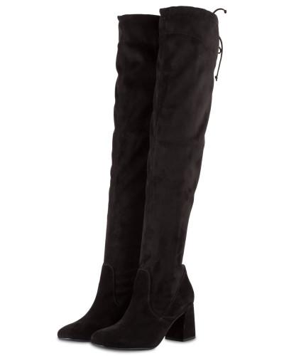 Overknee-Stiefel aus Samt - schwarz