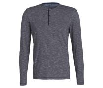 Henley-Shirt - blau/ weiss