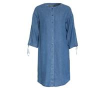 Hemdblusenkleid mit Leinen in Jeansoptik