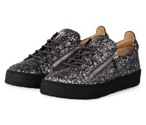 Plateau-Sneaker GLITTER - SILBER/ SCHWARZ
