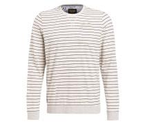 Sweatshirt - ecru/ navy gestreift