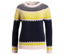 Cashmere-Pullover NORA - navy/ rosa/ lime