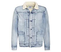 Jeansjacke mit Kunstfellbesatz