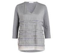 Shirt im Materialmix - grau meliert