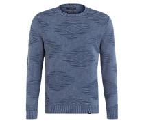 Pullover NEILL mit Strickmuster - blau