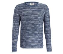 Pullover - blau/ beige meliert