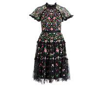 Kleid LAZY DAISY - schwarz/ grün/ weiss