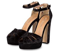 Plateau-Sandaletten aus Samt - schwarz