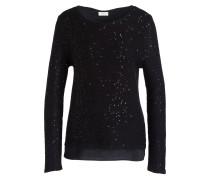 Pullover mit Paillettenbesatz - schwarz