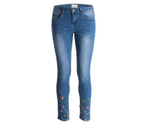 Jeans mit Stickereien - middle blue denim