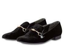 Samt-Loafer - schwarz