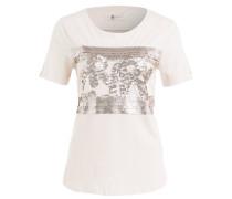 T-Shirt mit Paillettenbesatz - rosé