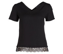 T-Shirt mit Spitzensaum - schwarz