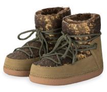 Fell-Boots mit Paillettenbesatz - oliv