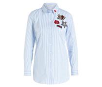 Bluse mit Patches - blau/ weiss gestreift
