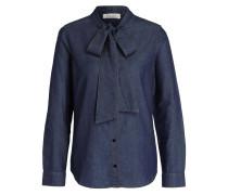 Jeansbluse mit Schluppe - blau