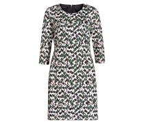 Kleid mit 3/4-Arm - grün/ rosé/ schwarz