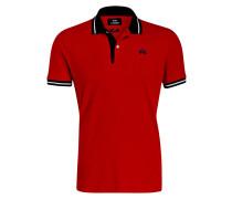 Piqué-Poloshirt Slim-Fit - rot/ navy