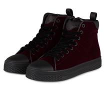 Hightop-Sneaker STELA aus Samt - dunkelrot