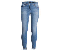 Skinny-Jeans mit Fransensaum - light blue