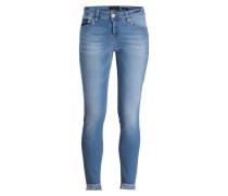 Skinny-Jeans mit Fransensaum - blau