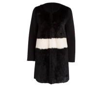 Mantel mit Fellbesatz - schwarz/ weiss