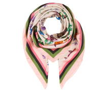 Seidentuch - rosa/ grün/ beige