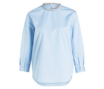 Bluse mit Perlenbesatz - hellblau