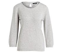 Pullover mit 3/4-Arm - hellgrau meliert