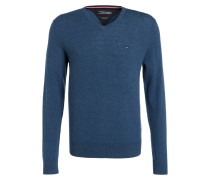 Lambswool-Pullover - blau