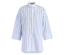 Bluse mit 3/4-Arm - hellblau/ weiss
