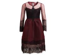 Kleid mit Spitzenbesatz - burgunder
