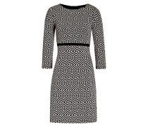 Kleid mit 3/4-Arm - schwarz/creme