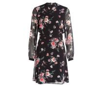 Chiffon-Kleid - schwarz/ rosa