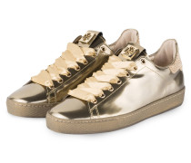 Sneaker mit Strasssteinbesatz - gold