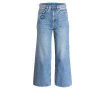 Jeans-Culotte mit Patches - blau