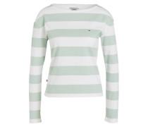 Pullover - weiss/ hellgrün gestreift